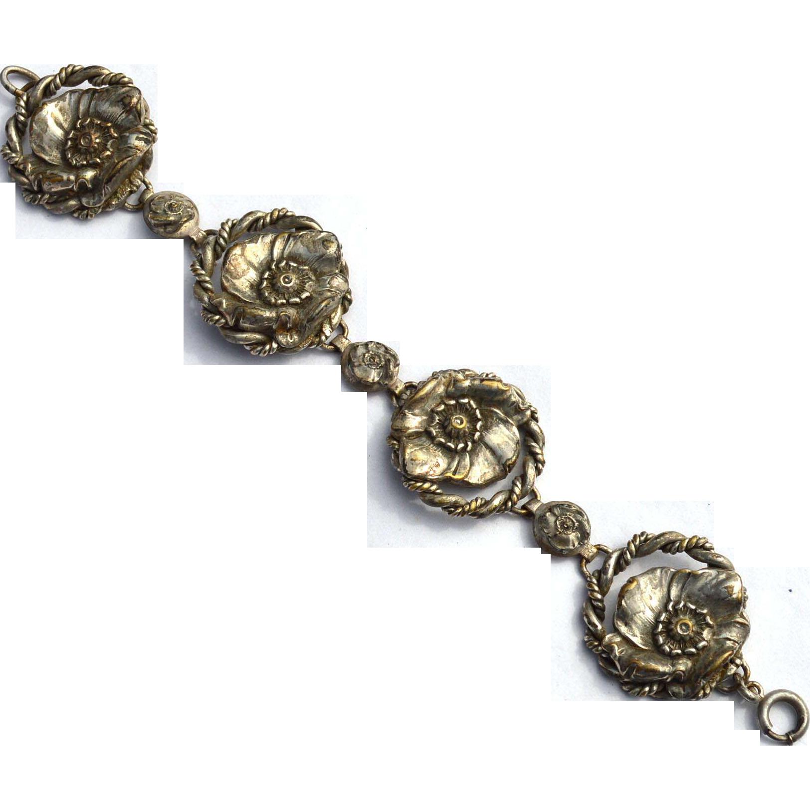 Art Nouveau Era Silver Plate Flower Bracelet, Very Ornate