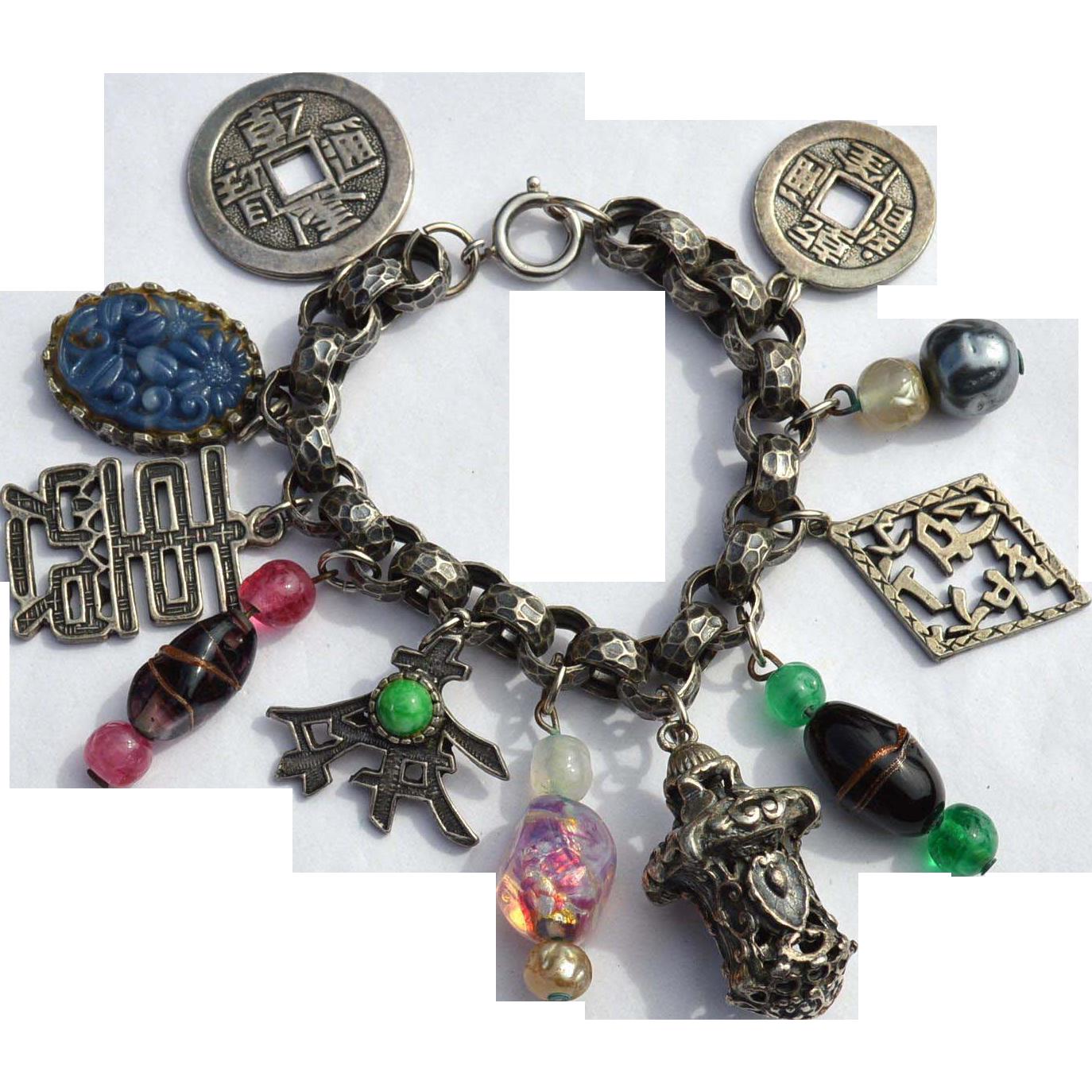 Vintage 1950's NAPIER Asian Theme Charm Bracelet, Glass, Very Ornate