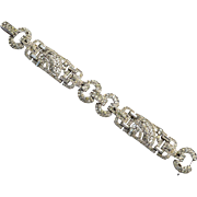 Art Deco Rhinestone Bracelet, Arrow Shaped Cut Outs, Exquisite!