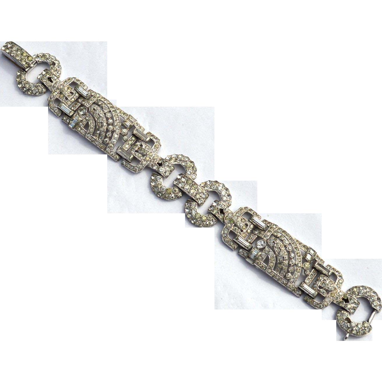 Art Deco Rhinestone Bracelet, Arrow Shaped Cut Outs, Exquisite!