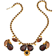 Juliana Rootbeer Art Glass Tiger Stripe Rhinestone Necklace and Earrings Demi Set