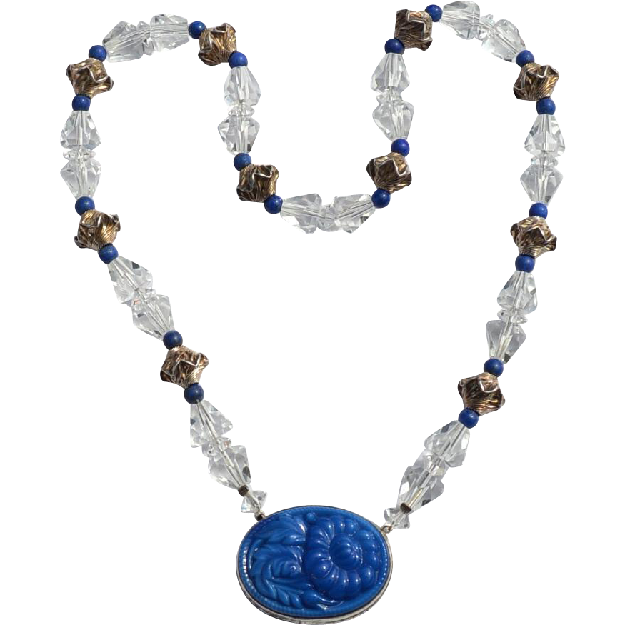 Early Hallmarked STERLING SILVER Molded Lapis Glass and Crystal Necklace