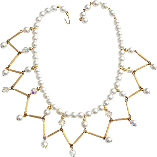 Vintage Faux Pearl and Crystal Bib Collar Necklace
