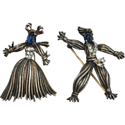 1943 TRIFARI Nenette and Rintintin Rag Doll Pin Set, Sterling Silver