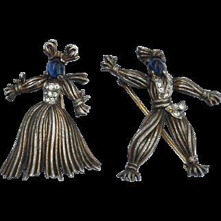 1943 TRIFARI Nenette and Rintintin Rag Doll Pin Set, Sterling Silver