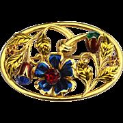 Vintage 1930-1940 Flower Pin, Enamel and Large Rhinestones