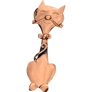 Vintage Copper Kitty Cat Pin