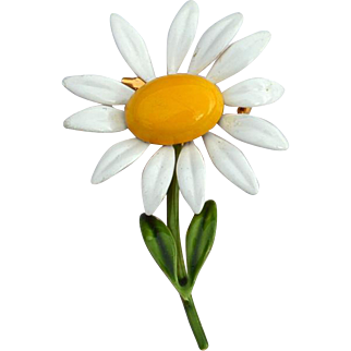 Vintage Signed ORIGINAL BY ROBERT Yellow and White Enameled Daisy Flower Pin