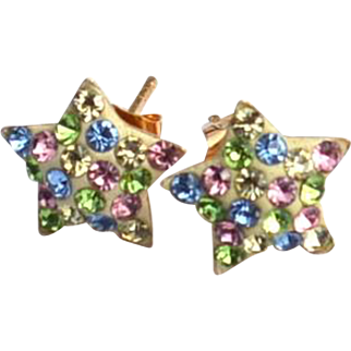 Hallmarked 14K Yellow Gold Star Earrings 585, Multicolored Stones