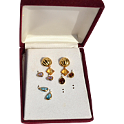 Hallmarked 14K Yellow Gold Interchangeable Gemstone Earrings, Amethyst Citrine Blue Topaz and Garnet
