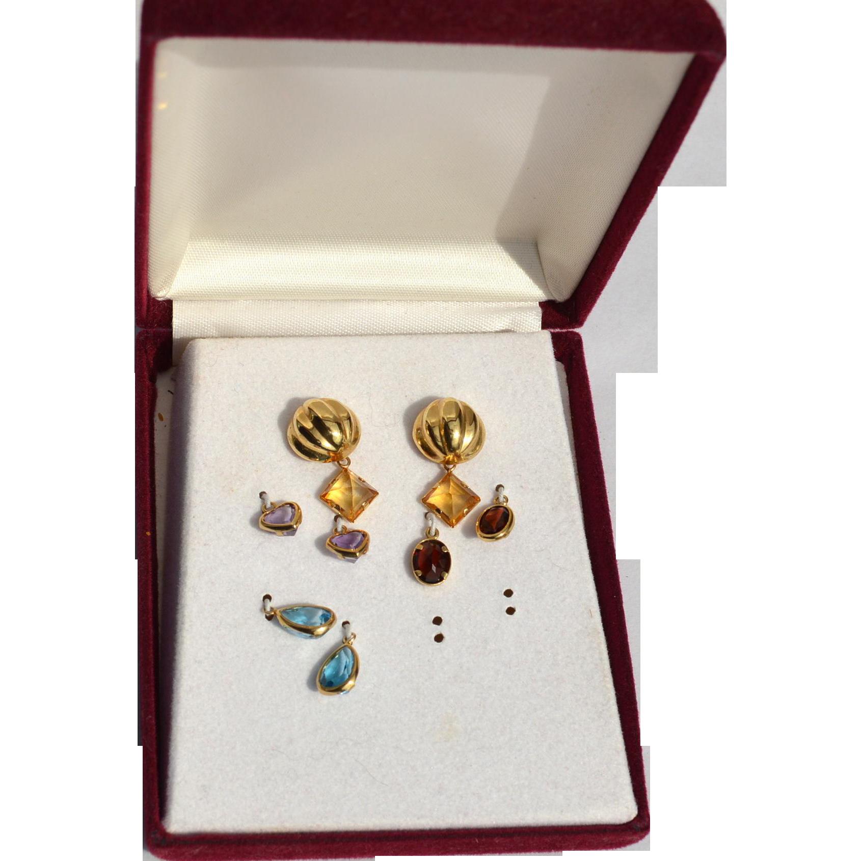 Hallmarked 14K Yellow Gold Interchangeable Gemstone Earrings, Amethyst Citrine Blue Topaz and Garnet