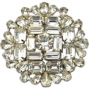 Vintage Signed WARNER Clear Rhinestone Pin