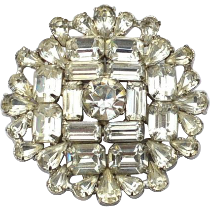 Vintage Signed WARNER Clear Rhinestone Pin