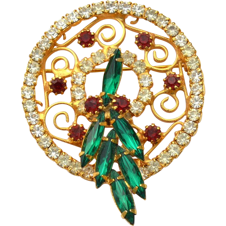 Juliana Vintage Spiky NAvette Rhinestone Chrsitmas Wreath Pin