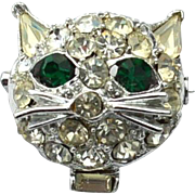 Vintage Dimensional Kitty Cat Head Rhinestone Pin