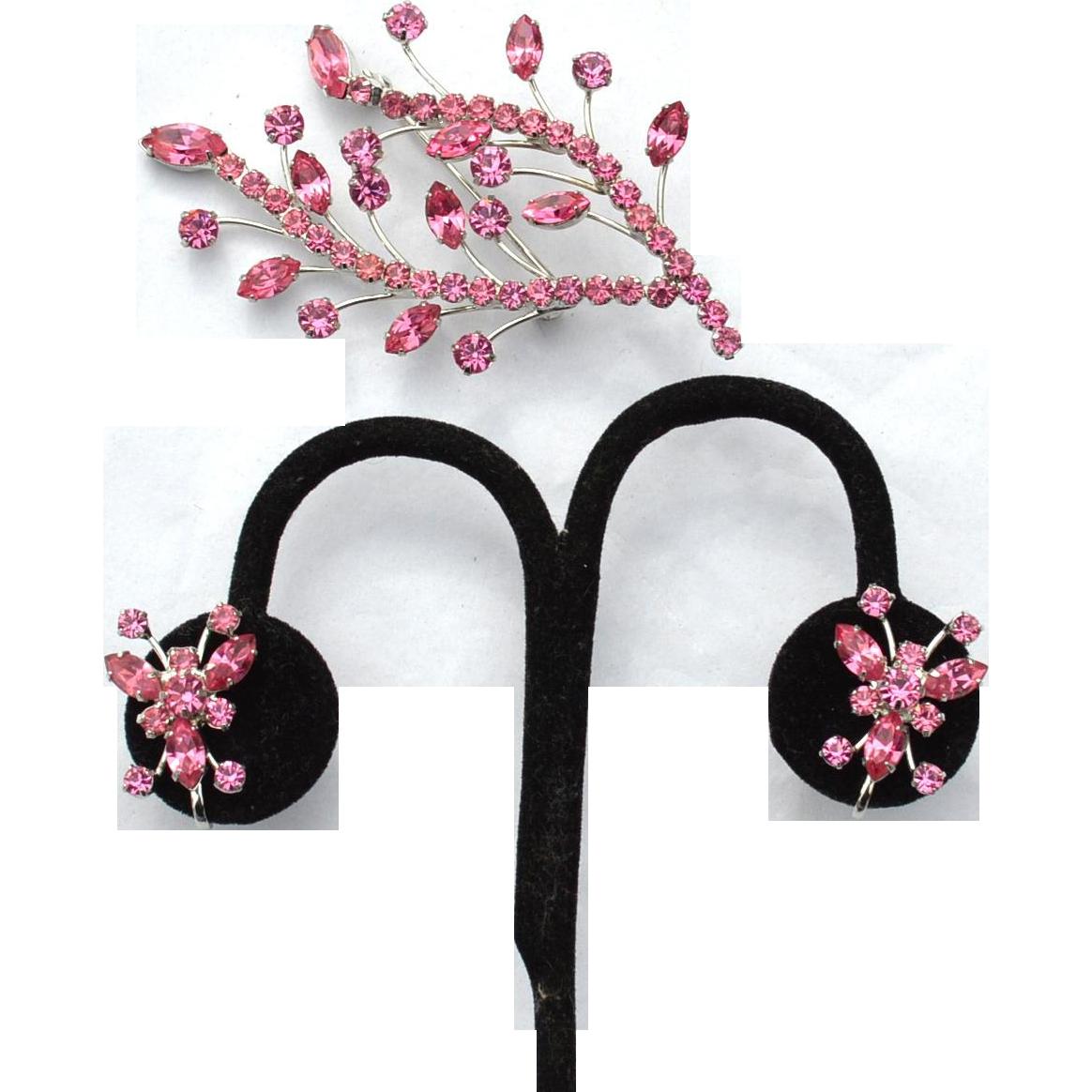 Pretty Pink Flower Spray Rhinestone Pin Demi, Butterfly Earrings