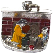 Vintage Hallmarked STERLING SILVER Children Opening Present Enameled Christmas Charm, Dimensional