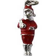 Vintage Hallmarked STERLING SILVER Santa Enameled Christmas Charm, Dimensional