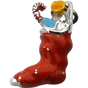 Vintage Hallmarked STERLING SILVER Stocking Filled With Presents Enameled Christmas Charm, Dimensional