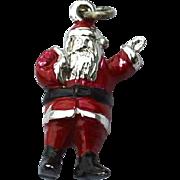 Vintage Hallmarked STERLING SILVER Santa Claus Enameled Christmas Charm, Dimensional