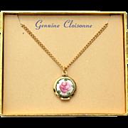 Vintage Genuine Cloisonne Locket Necklace, Original Box