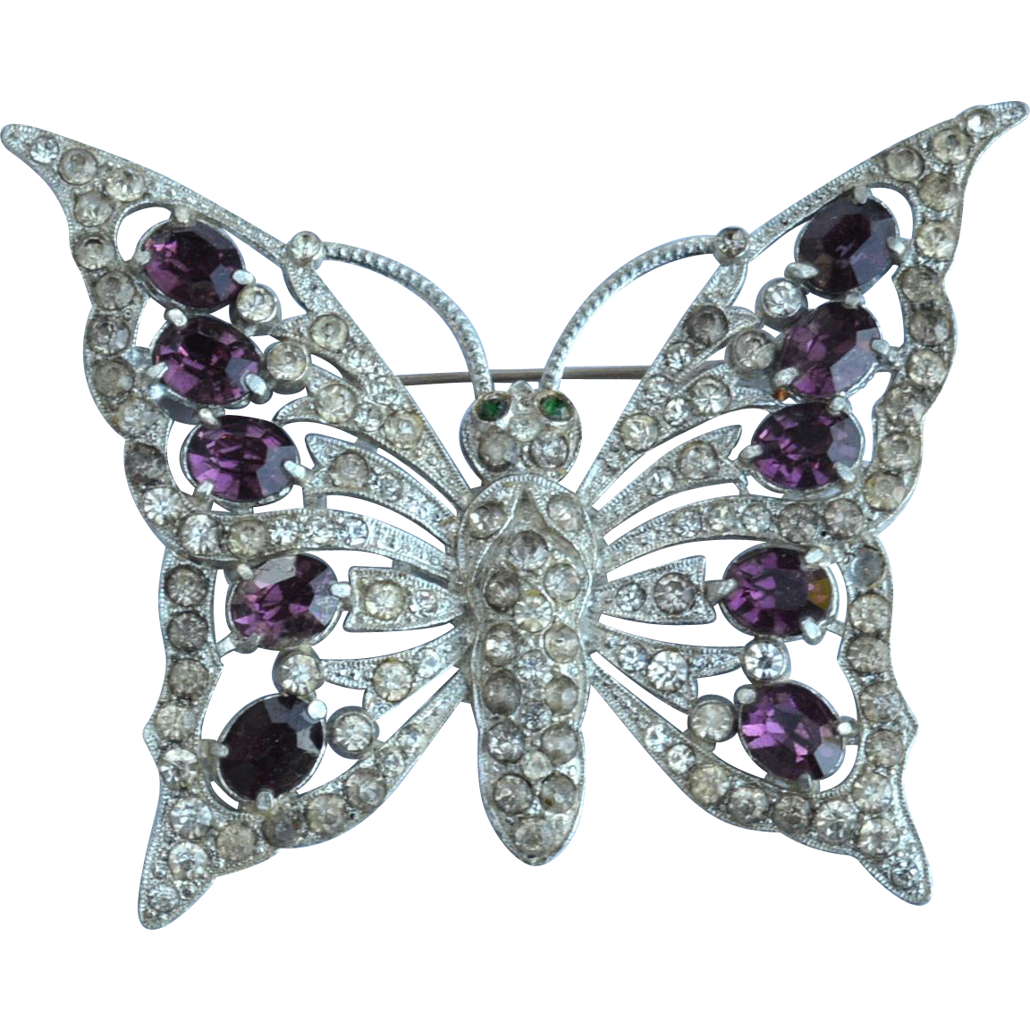Huge Oversize 1930's Amethyst Colored Rhinestone Butterfly Pin