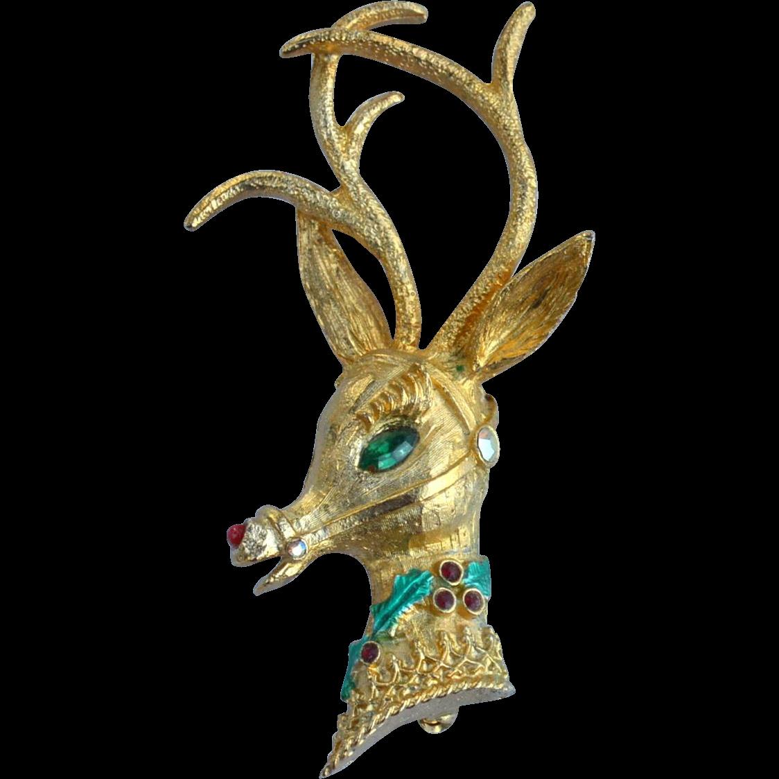 Vintage Signed MYLU Christmas Reindeer Rudolph Pin