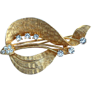 Vintage Signed DENBE' Gold Tone and Rhinestone Pin, Real Look