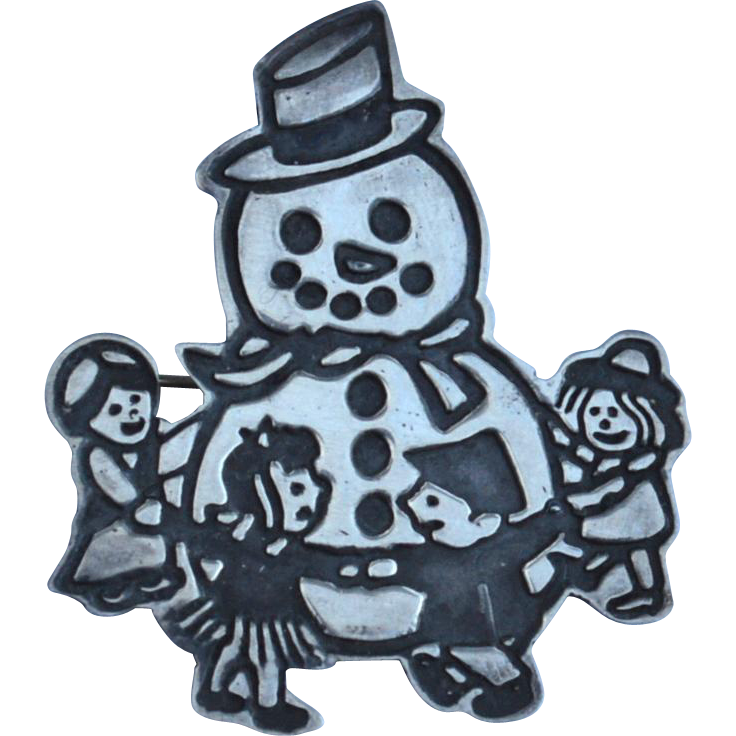 Frosty The Snowman STERLING SILVER Mexico Pin
