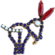 Vintage Red White and Blue Rhinestone Political Patriotic Donkey Behind Pin