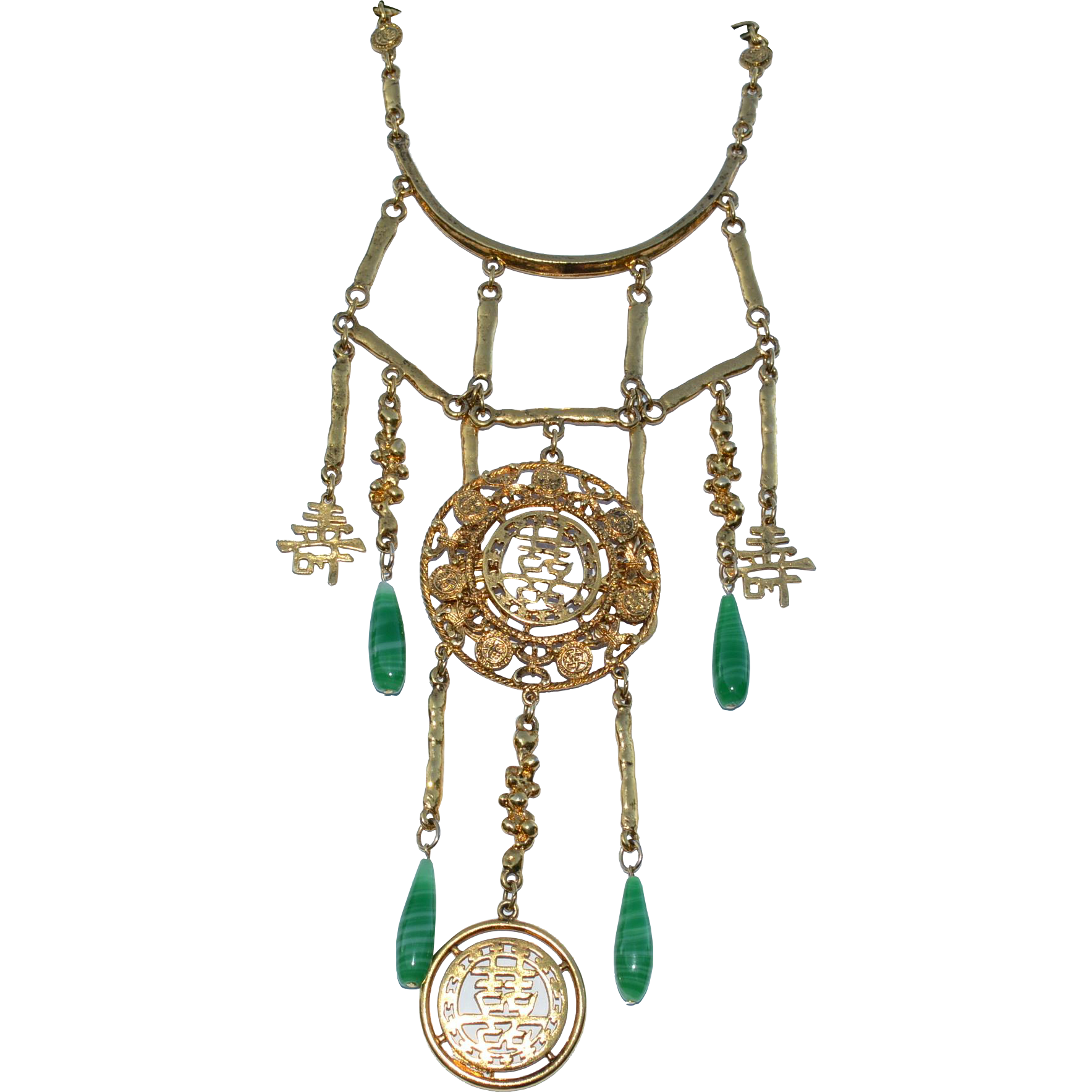"""Enormous Chinese Character and Glass Dangle Necklace, 8 1/2"""" Long Drop!"""