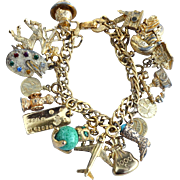 Vintage Signed MONET Loaded Charm Bracelet, Sterling, Avon, Mechanical, Stanhope