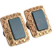 June 14, 1881 Victorian Era Bloodstone Gold Filled Cufflinks Cuff Links