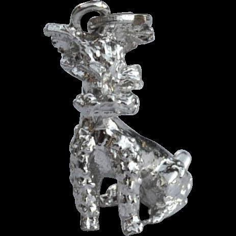 Vintage Hallmarked STERLING SILVER Poodle Dog Charm