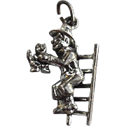 Vintage Hallmarked STERLING SILVER Fireman Saving a Kitty Cat with a Ladder Charm