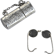 "Vintage Hallmarked STERLING SILVER ""Love Is Blind"" Eyeglass Case and Glasses Charm, Opens Up!"