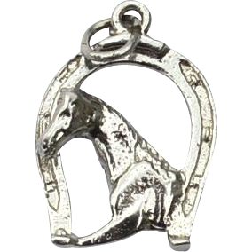 Vintage Hallmarked STERLING SILVER Horse and Lucky Horseshoe Charm