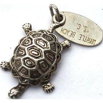 Vintage Hallmarked STERLING SILVER Myrtle Beach, South Carolina Turtle Charm
