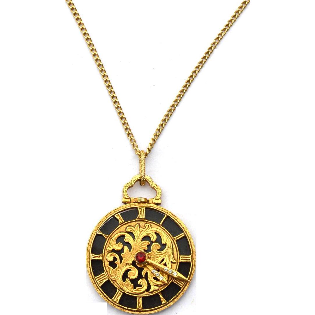 Vintage Signed FLORENZA Ornate Clock Pendant Necklace