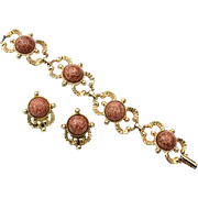 Vintage Glass Goldstone Demi, Bracelet and Clip Earrings