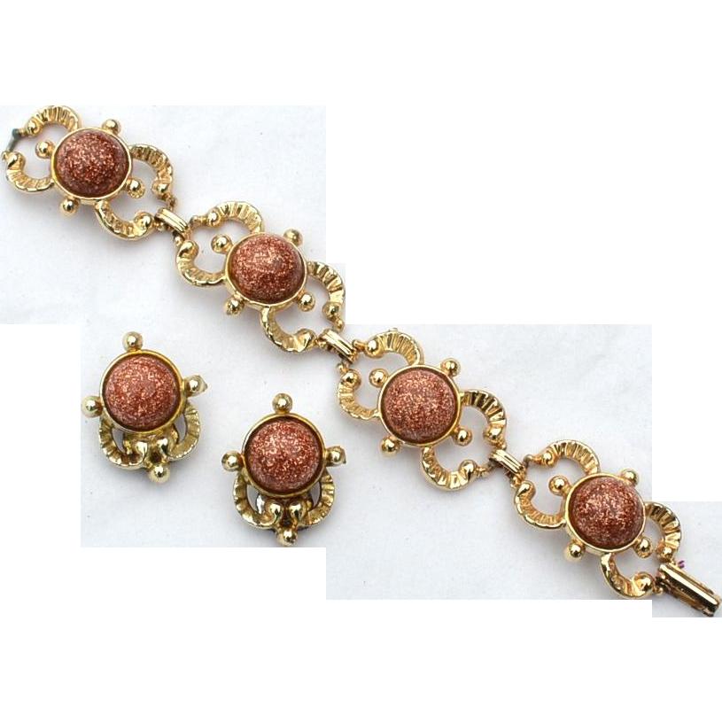 Vintage Glass Goldstone Demi, Bracelet and Clip Earrings