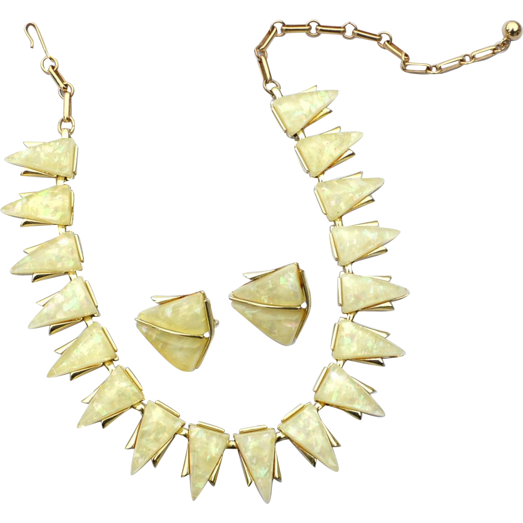Vintage Signed CORO Pale Lemon Yellow Confetti Lucite Demi, Necklace and Earrings, Original Box