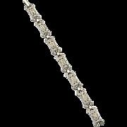 Early Vintage Rhodium Plate Rhinestone PAste Bracelet, Art Deco Era