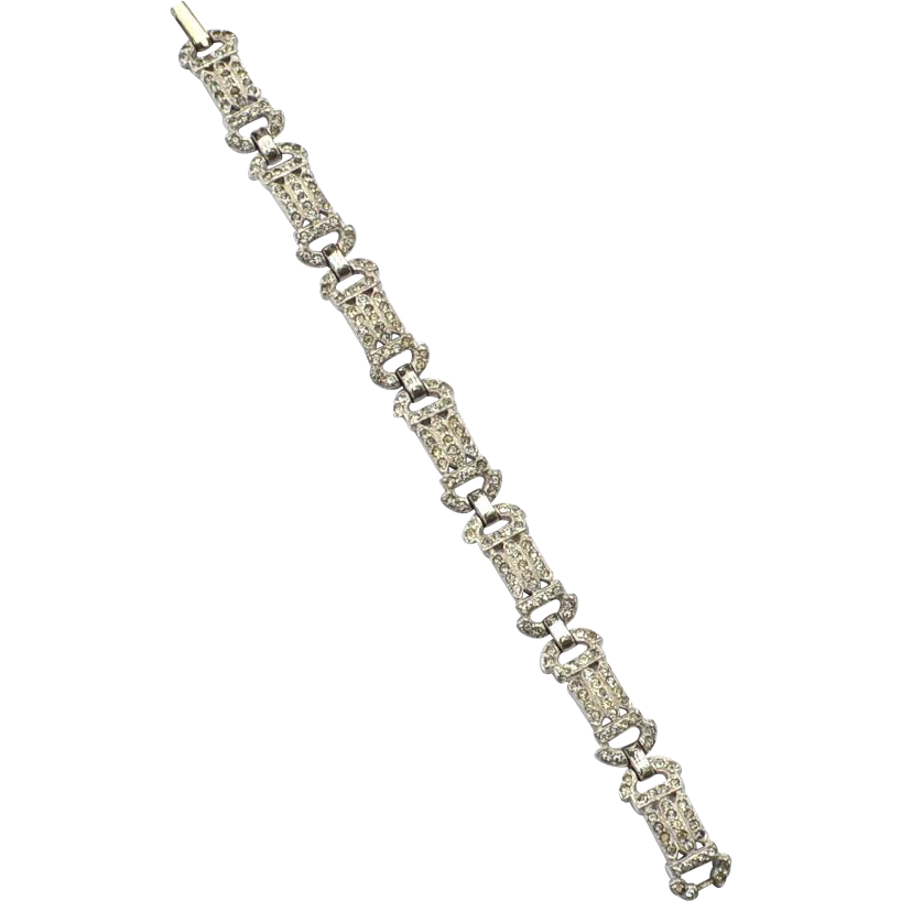 Early Vintage Rhodium Plate Rhinestone PAste Bracelet, Art Deco Era