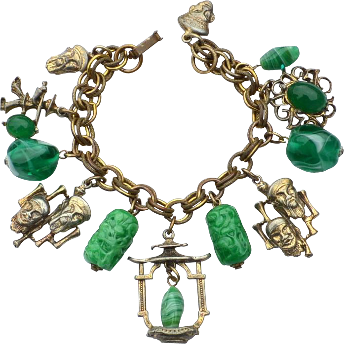 Vintage Asian Charm Bracelet, Green Glass, Fantastic Piece!