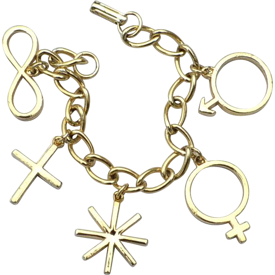 Vintage Symbolic Charm Bracelet, Man, Woman, 8 Point Star, Cross, Infinity