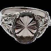 Oversized Vintage Signed WHITING & DAVIS Super Ornate Glass Front Bracelet