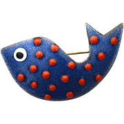Vintage Copper On Enamel Polka Dot Fish Pin