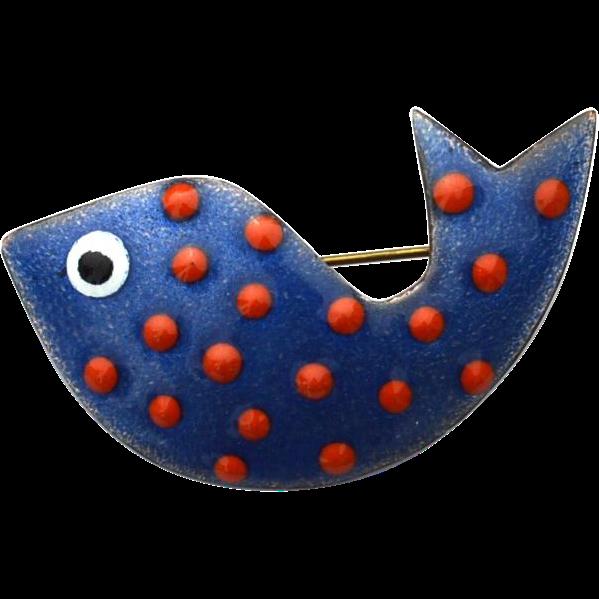 Vintage Copper On Enamel Polka Dot Fish Pin