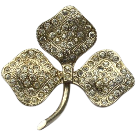 Early Vintage Signed CHECHOSLOVAKIA Three Leaf Clover Rhinestone Pin
